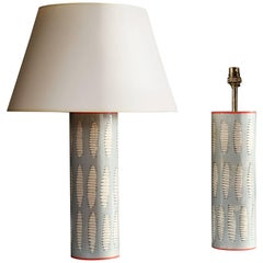 Pair of Art Pottery Lamps with Abstract Leaf Motif