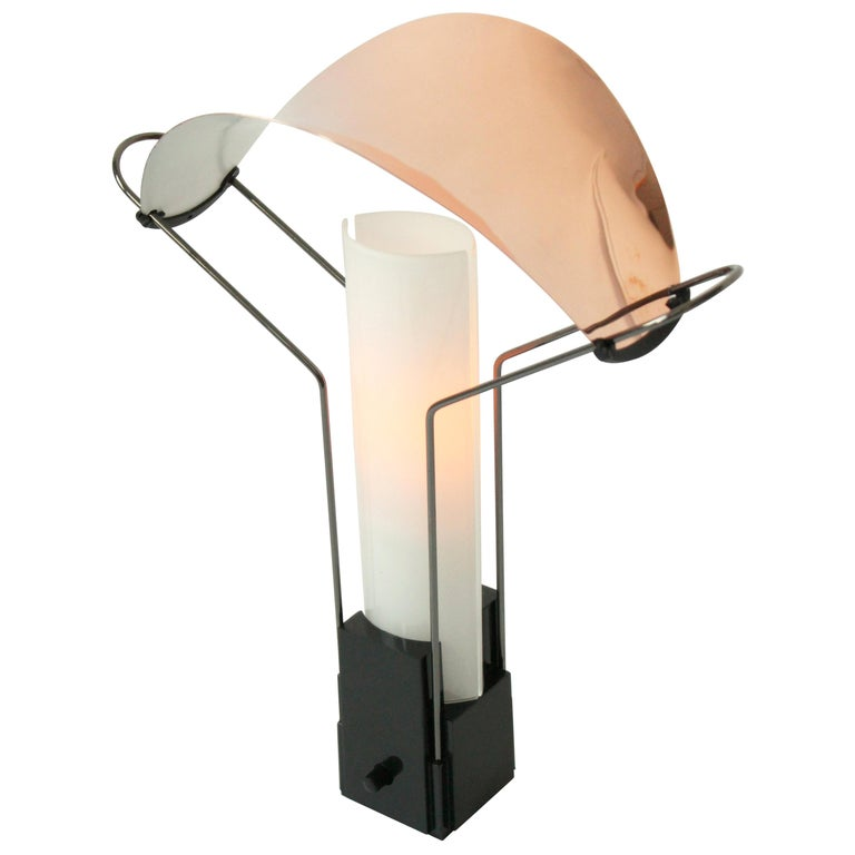Pair of Arteluce 'Palio' Table Lamp with Copper and Glass Shade, 1985, Italia