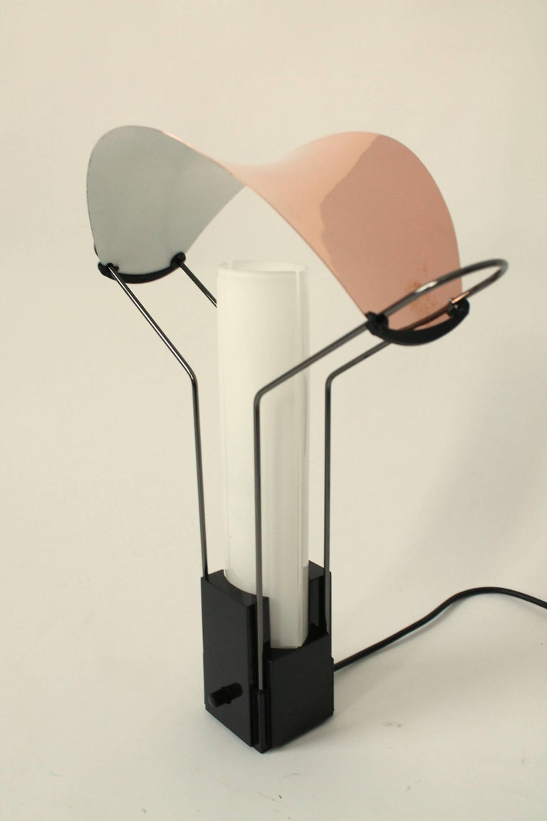 Italian Pair of Arteluce 'Palio' Table Lamp with Copper and Glass Shade, 1985, Italia