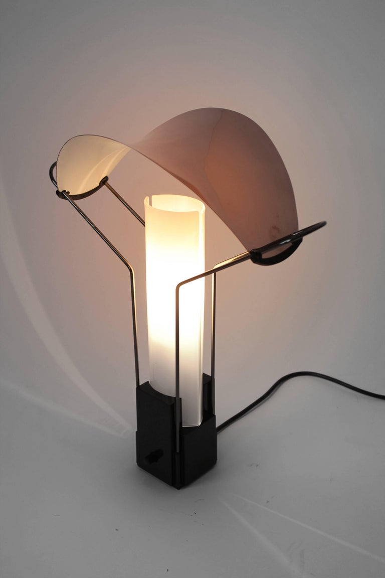 Powder-Coated Pair of Arteluce 'Palio' Table Lamp with Copper and Glass Shade, 1985, Italia