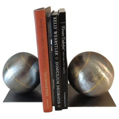 Pair of Arteriors Brass and Steel Hand Hammered Round Bookends