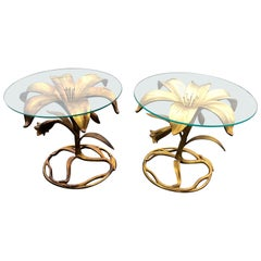 Pair of Arthur Court Gilt Lily Tables