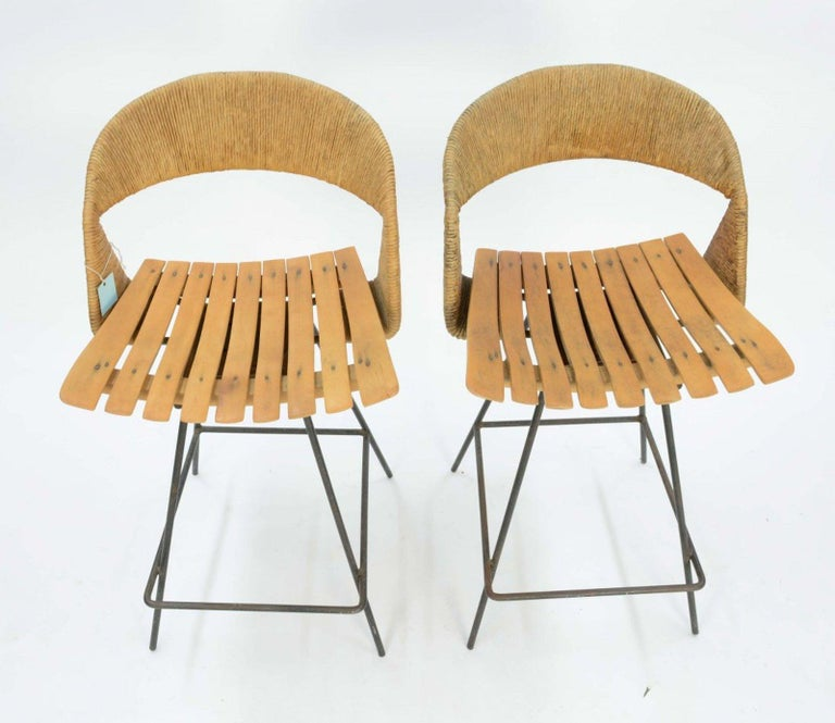 American Pair of Arthur Umanoff Bar Stools For Sale