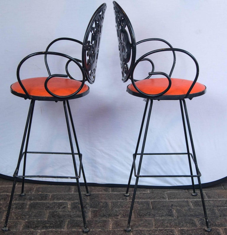 Pair of Arthur Umanoff Bar Stools In Good Condition For Sale In Stamford, CT