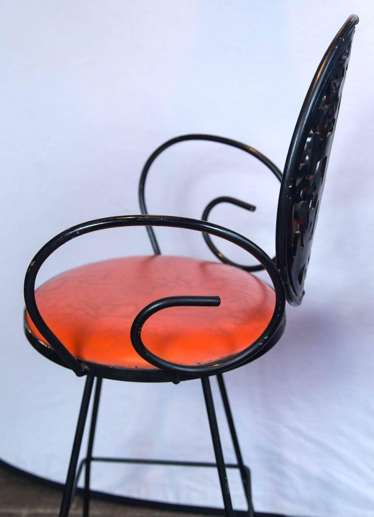 Wrought Iron Pair of Arthur Umanoff Bar Stools For Sale