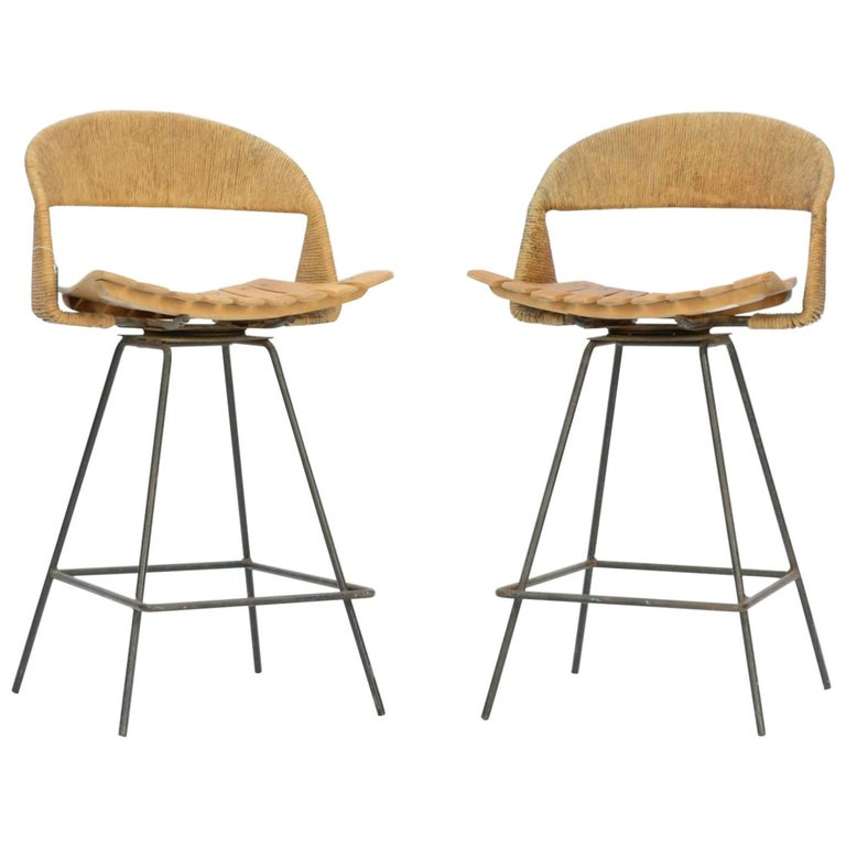 Pair of Arthur Umanoff Bar Stools For Sale