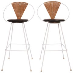 Pair of Arthur Umanoff for Shaver Howard Iron, Rattan & Black Leather Bar Stools