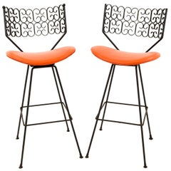 Pair of Arthur Umanoff for Shaver Howard Midcentury Iron Bar Stools