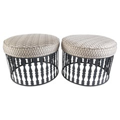 Pair of Arthur Umanoff Round Ottomans