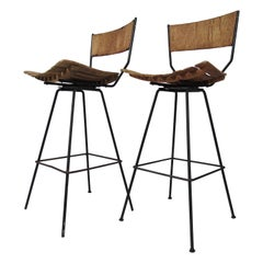Pair of Arthur Umanoff Swivel Slat Stools for Raymor