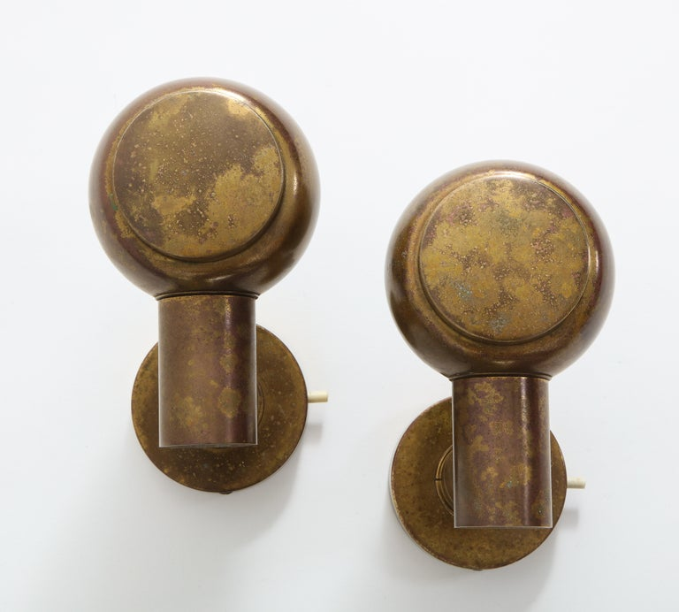 Pair of Articulating 1950s French Brass Sconces with Antique Patina For Sale 1