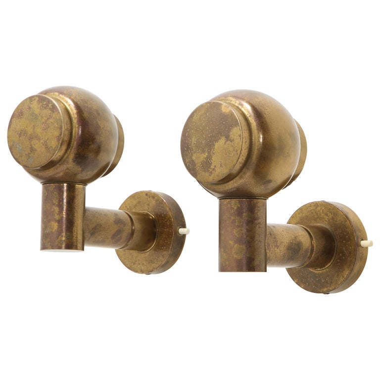 Pair of Articulating 1950s French Brass Sconces with Antique Patina For Sale