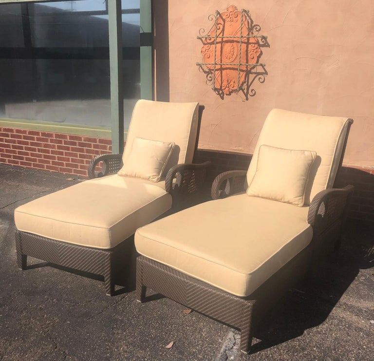 Gorgeous pair of outdoor articulating chaise lounges from the