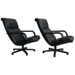 Pair of Artifort F194 Ambassador Swivel Lounge Chairs by Geoffrey Harcourt 1980s