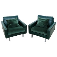 Pair of Artifort Green Leather and Velvet Lounge Chairs