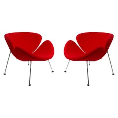 Pair of Artifort Pierre Paulin Orange Slice Lounge Chairs