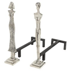 Pair of Artisan Andirons in the Style of Giacometti, 1970s