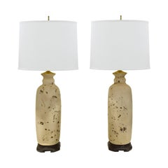 Pair of Artisan Ceramic Asian Style Table Lamps, 1960s