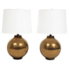 Pair of Artisan Ceramic Table Lamps with Craquele Bronze Glaze 1970s