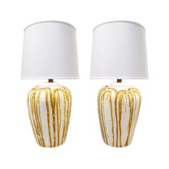 Pair of Artisan Ceramic Table Lamps with Volcanic Glaze, 1970s