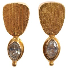 Pair of Artisan Created 22-Karat Gold and Diamond Dangling Earrings