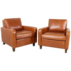Pair of Artisan-Made French Leather Club Chairs or Lounge Chairs