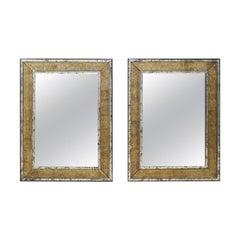 "Pair of 48"" Tall Artisan-Made Mirrors with Gold Églomisé Greek Key Surround"