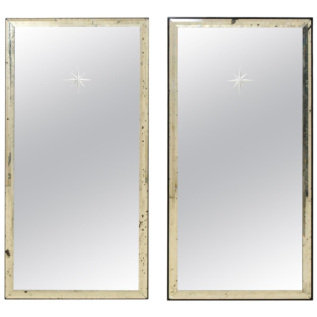 A Pair of Artisan Hand-Crafted Silver Églomisé Starburst Mirrors, 4 Ft Tall