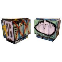 Pair of Artist Painted Graffiti Art Nightstands