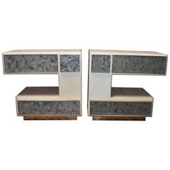 Pair of Artistic Parchment and Cracked Resin Side Tables or Nightstands