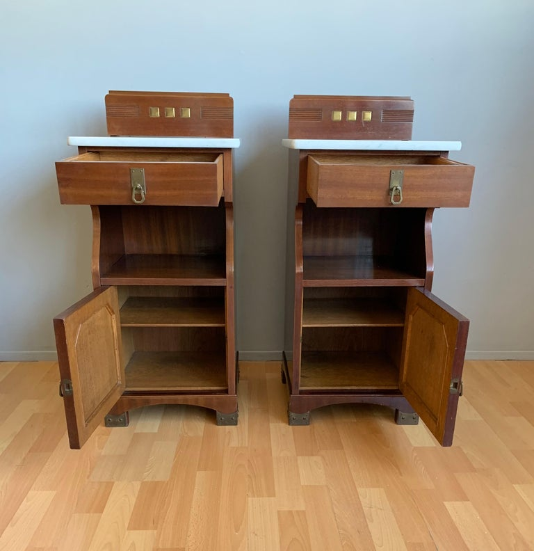 Pair of Arts and Crafts Mahogany Bedside Cabinets / Nightstands with Marble Tops For Sale 6