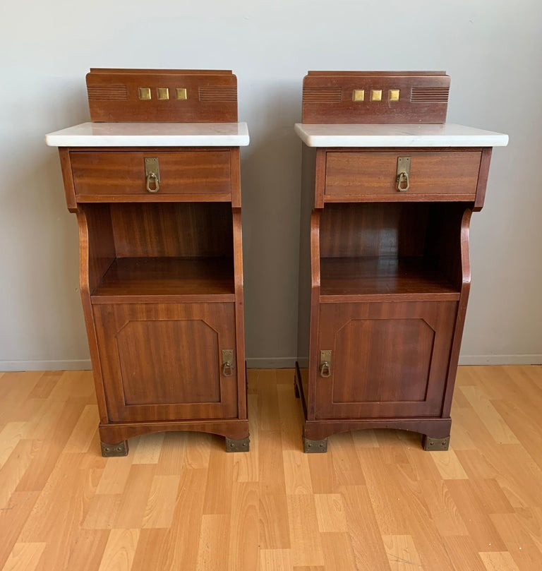 Perfect pair of antique European nightstands, similar to the American Mission style.  If you are looking for a pair of truly timeless and beautifully handcrafted bedside cabinets then this Arts & Crafts pair could be perfect for you. This