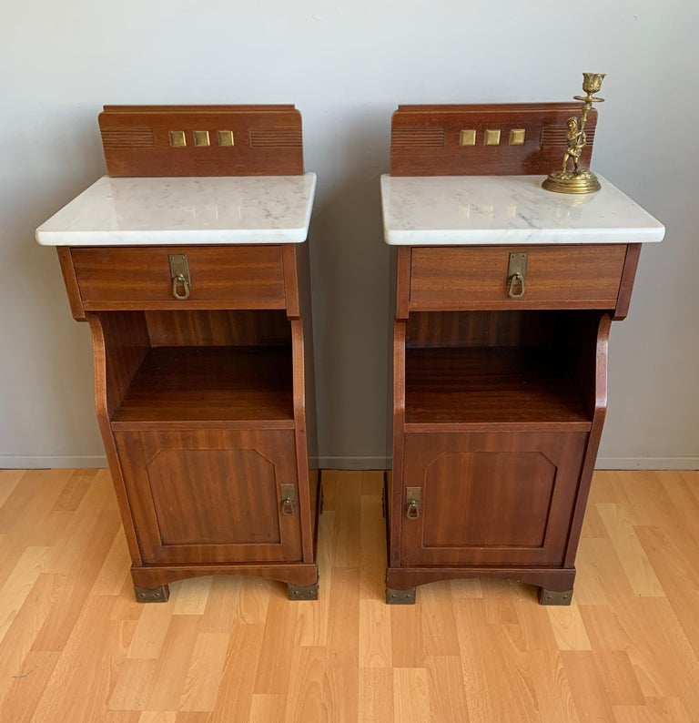 Pair of Arts and Crafts Mahogany Bedside Cabinets / Nightstands with Marble Tops For Sale 13