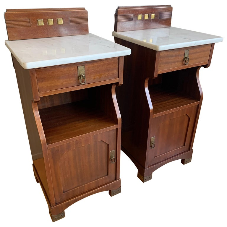 Pair of Arts and Crafts Mahogany Bedside Cabinets / Nightstands with Marble Tops For Sale