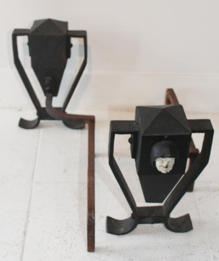 Pair of Arts & Crafts Painted Andirons, circa 1910 For Sale 2
