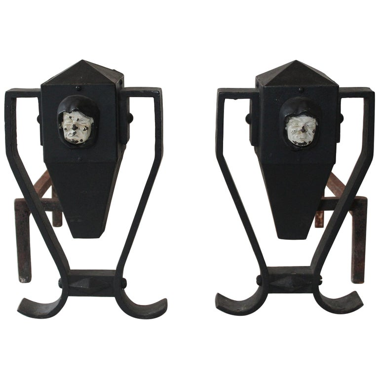 Pair of Arts & Crafts Painted Andirons, circa 1910 For Sale