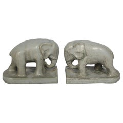 Pair of Arts and Crafts Pottery Elephant Bookends