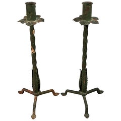 Pair of Arts and Crafts Wrought Iron Candlesticks