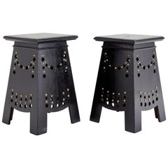 Pair of Arts & Craft Stools with Brass Studs, Belgium, Early 20th Century