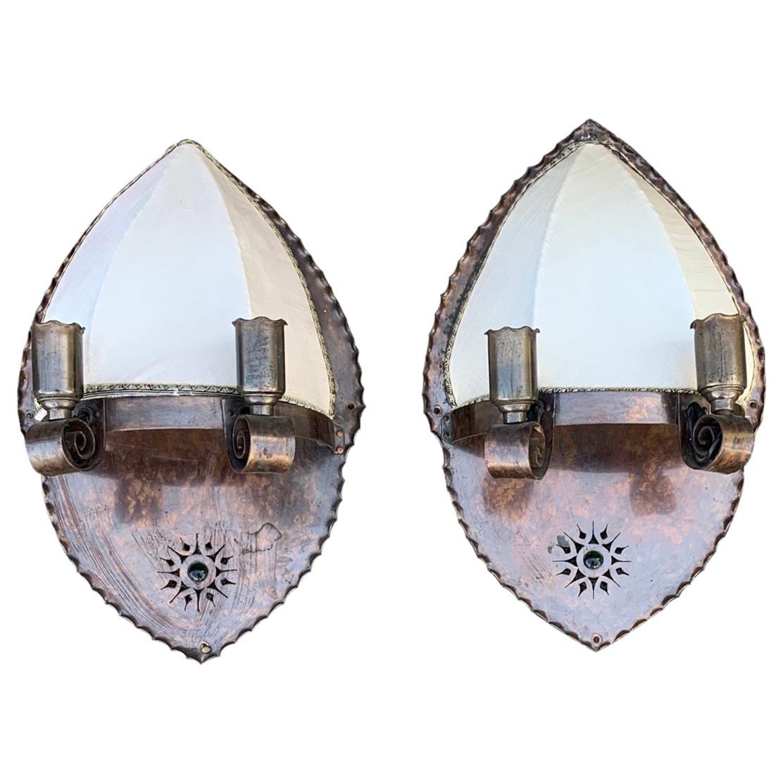 Pair of Arts & Crafts 3-Light Copper Wall Sconces by Winkelman & Van der Bijl