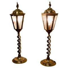 Pair of Arts & Crafts Barley Twist Brass Hall Table Lanterns