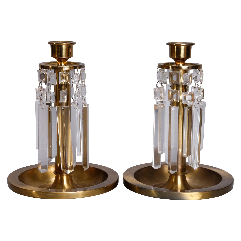 Pair of Arts & Crafts Brass & Crystal Candlesticks, circa 1910