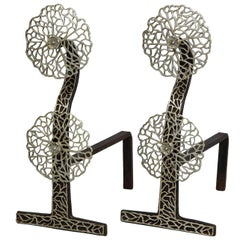 "Pair of Arts & Crafts ""Cow Parsley"" Andirons"