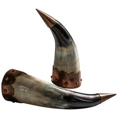 Pair of Arts & Crafts Drinking Horns, Late 19th Century