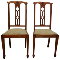 Pair of Arts & Crafts Golden Oak Chairs