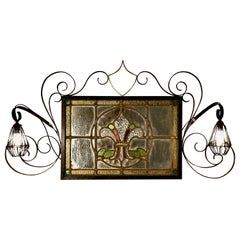 Pair of Arts & Crafts Gothic Stained Glass Mirror Lights