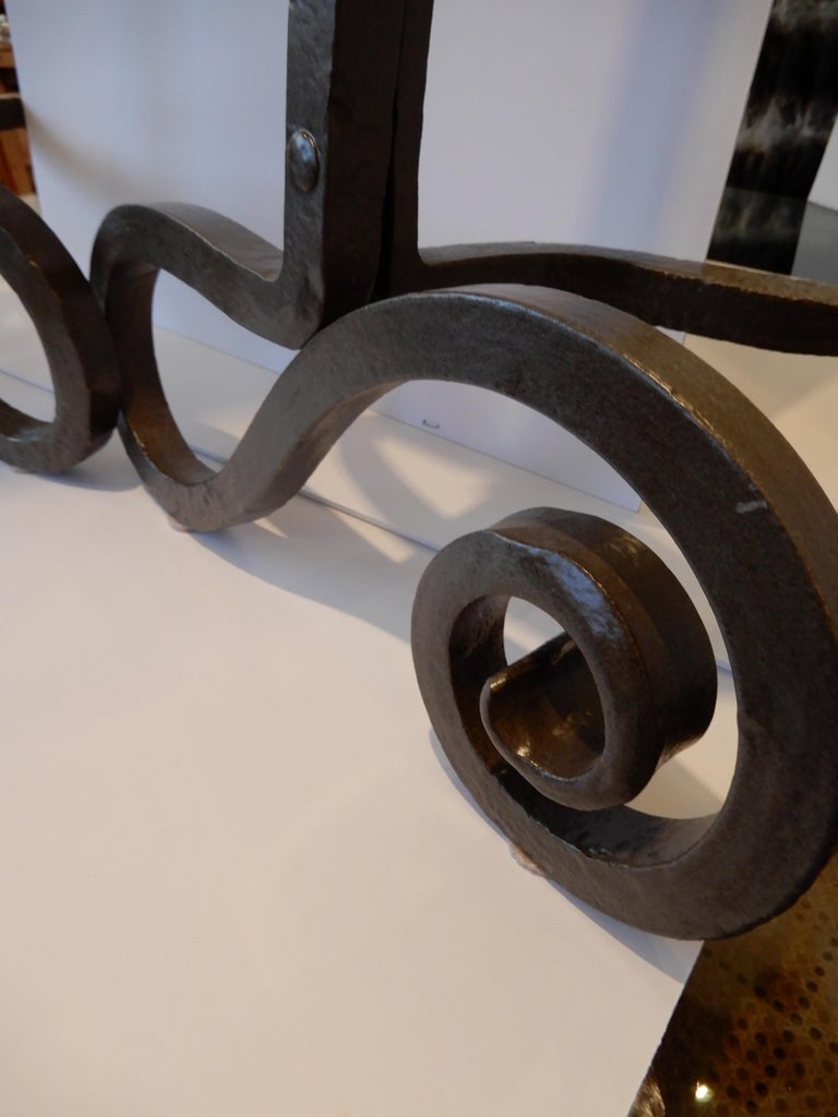 American Pair of Arts & Crafts Monumental Andirons For Sale