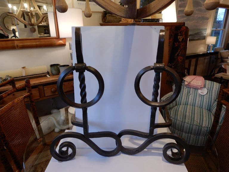 Iron Pair of Arts & Crafts Monumental Andirons For Sale