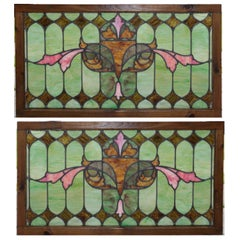 Pair of Arts & Crafts Mosaic Leaded Glass Windows, Stylized Eyes Design
