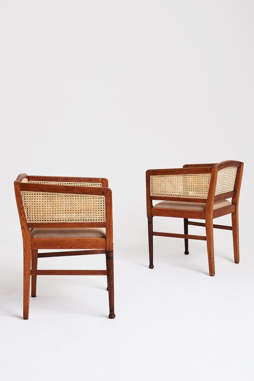 Arts And Crafts Oak Cane Armchairs, Arts & Crafts Furniture